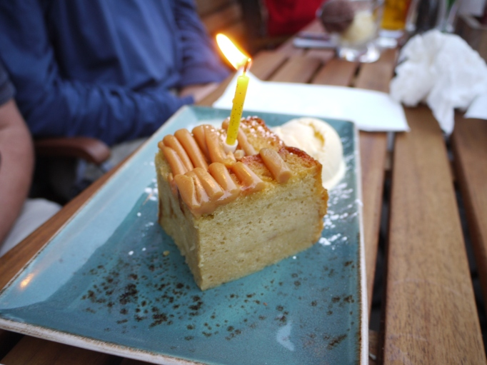Cleaver Cobham banana bread and butter pudding birthday cake
