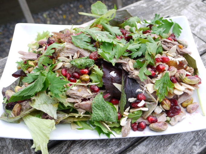 The Hothouse Cafe duck pomegranate pistachio almond salad