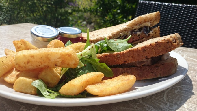 The Cricketers Downside Cobham roast beef sandwich with chips