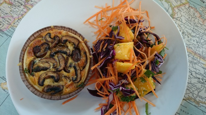 White Orchid mushroom quiche and salad
