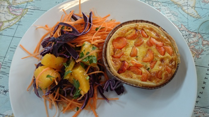 White Orchid carrot quiche and salad