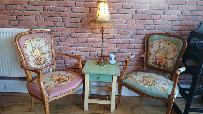 Nikki's Caffe Weybridge internal floral chairs