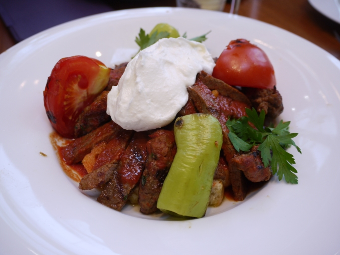 Cappadocia Walton-on-Thames Cheltik Iskender £13.50 Sirloin and lamb kofta with sour cream, tomatoes and peppers