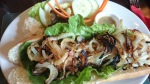Seven Stars Ripley sausage & onion baguette