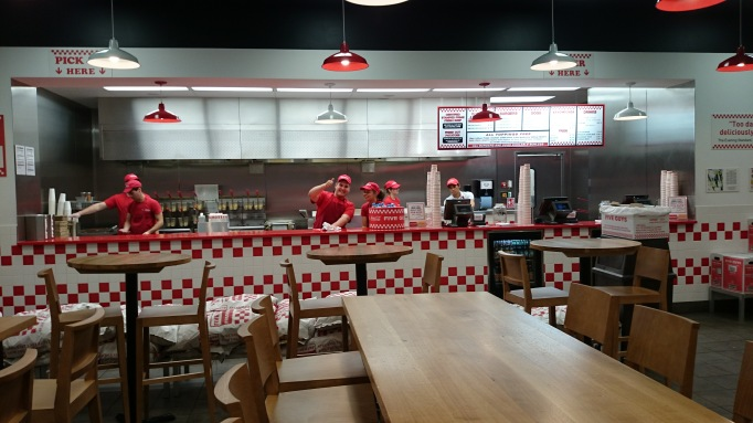 Five Guys Kingston interior counter