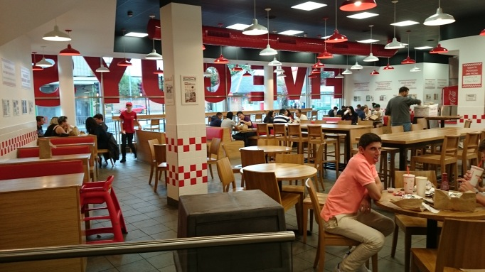 Five Guys Kingston interior seating