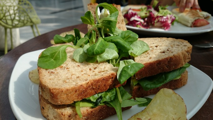 Moka Caffe cicken and spinach sandwich