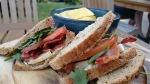 The Old Plough Cobham bacon brie tomato sandwich