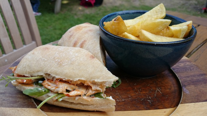 The Old Plough Cobham piri piri chicken ciabatta and chips