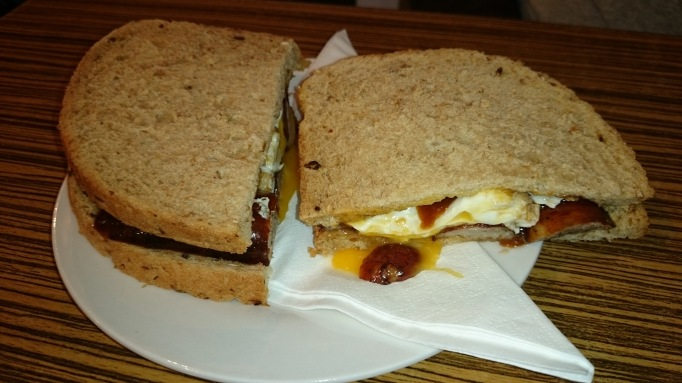 Baker street coffee house bacon and egg sandwich
