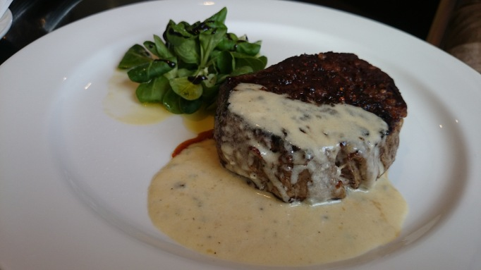 albert arm's esher steak with blue cheese sauce