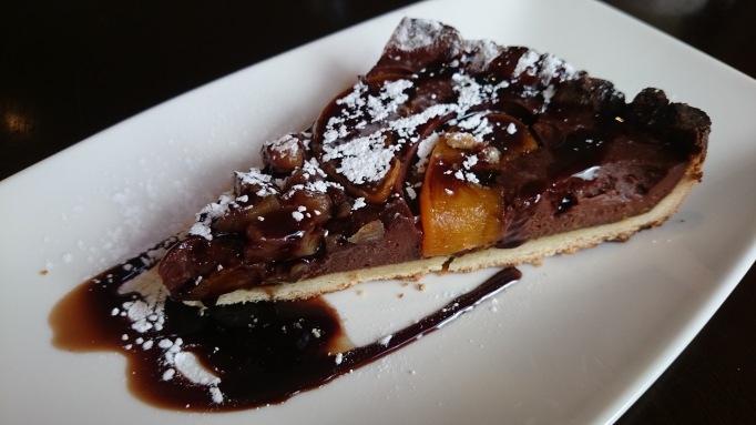 albert arm's esher chocolate and peach tart