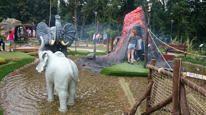 Hersham Golf Club safari adventure golf volcano and elephants