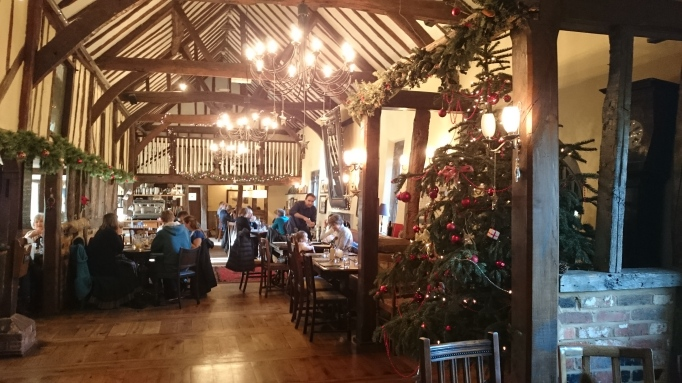 the Refectory Godalming interior grand restaurant area with half timbers