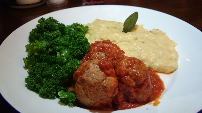 the Refectory Godalming wild boar and chorizo meathballs with polenta