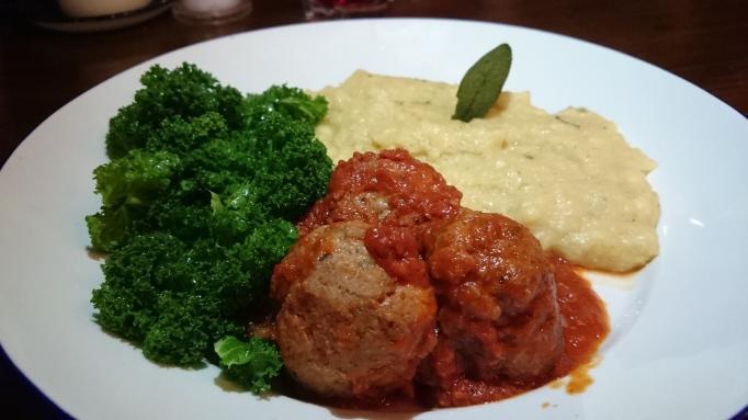 the Refectory Godalming wild boar and chorizo meathballs with polenta