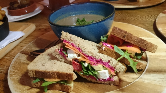 Three Horseshoes Laleham vegetable and feta sandwich with mushroom soup